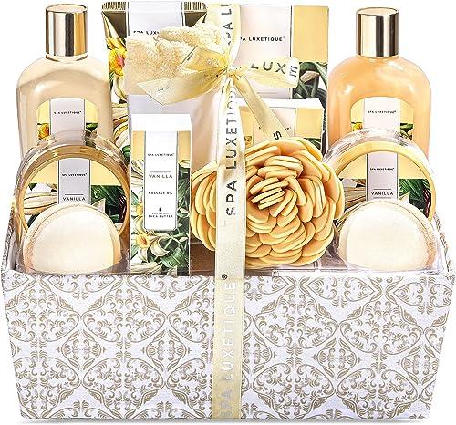 Spa Luxetique Coffret de Bain et de Soins au Parfum de Vanille, 12 Pièces Coffret Cadeau, Bombes de Bain, Sel de bain...