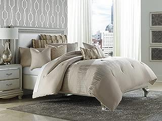 Michael Amini BCS-KS10-CAPVA-NUTR Captiva 10pc King Comforter Set Neutral,