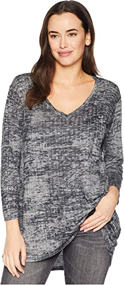 Burnout Grey Distress Print Top