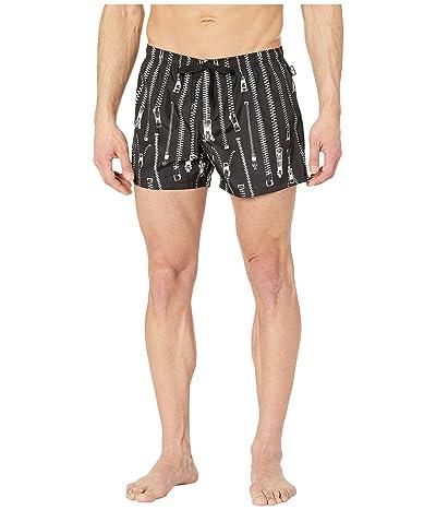 Moschino Zip Swim Trunks (Black) Men
