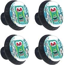 Keukenkast Knoppen - Night Hawk Patroon - Knoppen voor dressoir Laden voor kast, kast, badkamer of kantoor - Pack van 4