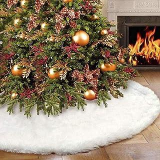 GENNISSY 30inch 0.55LB Christmas Tree Skirt Snowy White Plush Velvet - Holiday Party DecorationSnowy White Plush Velvet - ...