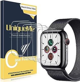 [6 Pack]UniqueMe Protector de pantalla para Apple Watch 44mm series 4/5/6/SE, [Caso amistoso] [Película flexible] Soft HD ...