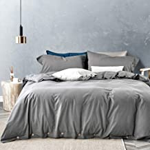 JELLYMONI Grey 100% Washed Cotton Duvet Cover Set, 3 Piece Luxury Soft Bedding Set with Buttons Closure,Solid Gray Color Pattern Duvet Cover Queen Size(No Comforter)