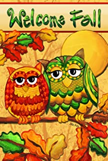 Toland Home Garden Fall Owls 28 x 40 Inch Decorative Colorful Autumn Bird Welcome House Flag