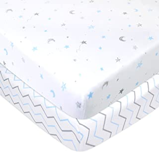American Baby Company 2 Pack Printed 100% Natural Cotton Jersey Knit Fitted Portable/Mini-Crib Sheet,Blue Stars/Zigzag, Soft Breathable, for Boys and Girls