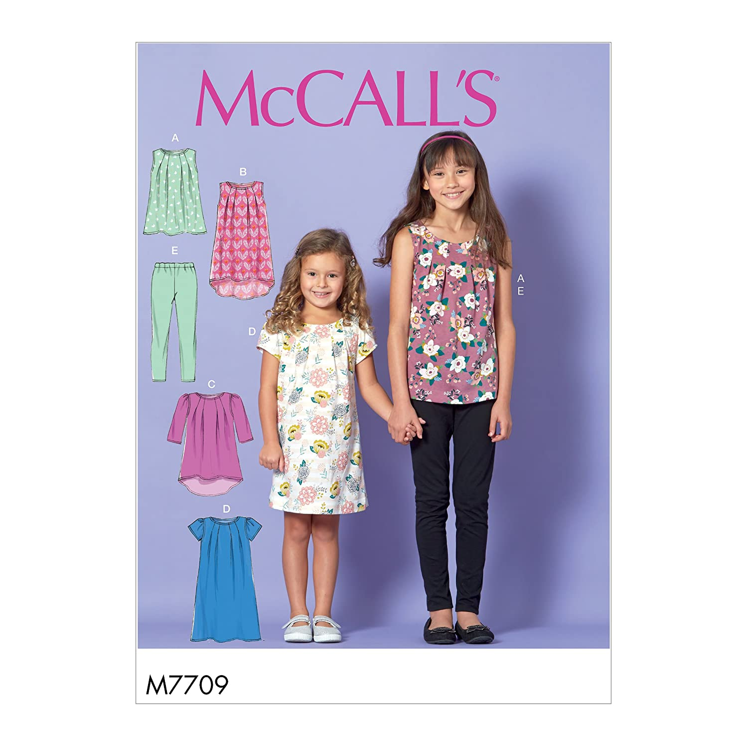 McCall Patterns M7709CHJ Children/Girls' Tops, Dresses and Leggings