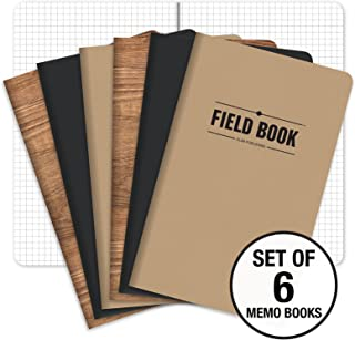 """Field Notebook - 5""""x8"""" - Combo Colors - Graph Memo Book - Pack of 6"""