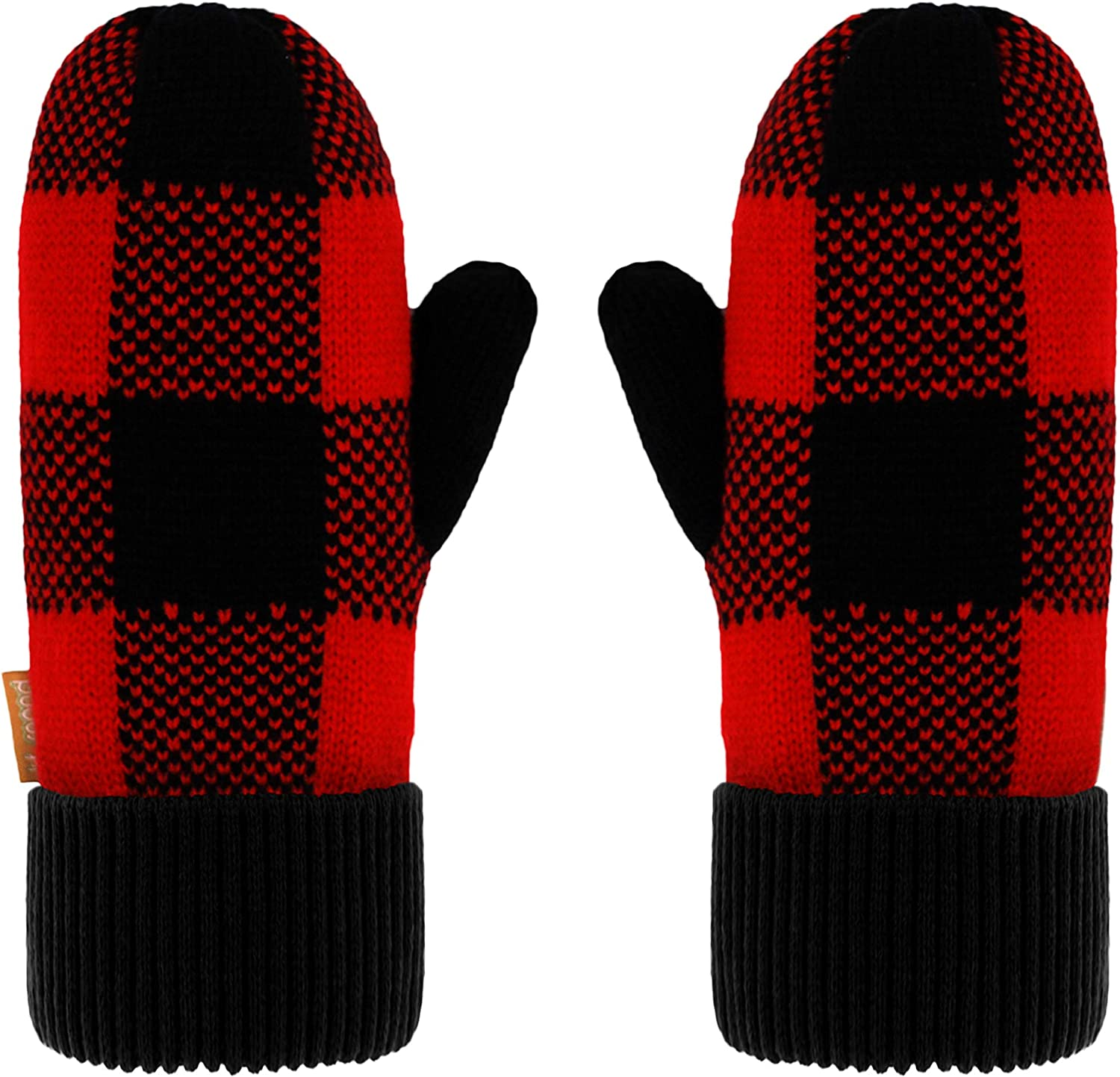 Pudus Chenille Cable Knit Winter Mittenss for Women, Fleece-Lined Warm Gloves
