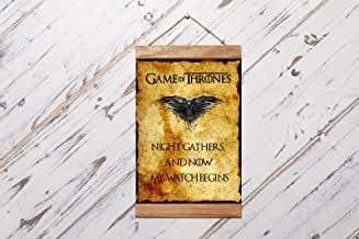 Game of Thrones Quote Night Watch, Night Gathers and now my watch Begins, Poster Wood Framed Canvas Print