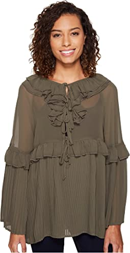 Pleated Woven Top