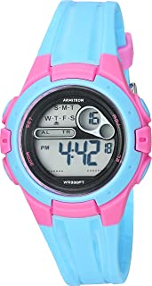 Armitron Sport Women's 45/7079LBL Pink Accented Digital Chronograph Light Blue Resin Strap Watch