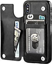 iPhone Xs iPhone X Wallet Case with Card Holder,OT ONETOP Premium PU Leather Kickstand Card Slots Case,Double Magnetic Clasp and Durable Shockproof Cover(Black)