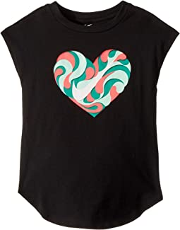 Nike Kids Wavy Heart Short Sleeve Hi-Lo Tee (Little Kids)