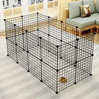 GULIQ Pet Playpen Metal Wire Apartment-Style Two-Storey Bunny Fence and Kennel, for Guinea Pigs, Bunnies, Rabbits,Puppies,...