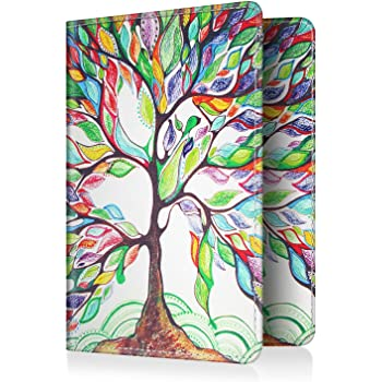 Fintie Passport Holder Travel Wallet RFID Blocking PU Leather Card Case Cover (Love Tree)