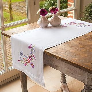 Vervaco Tischläufer Sommerlich Stickpackung/Läufer im vorgedruckten/vorgezeichneten Kreuzstich, Baumwolle, Mehrfarbig, 40 x 100 x 0.3 cm