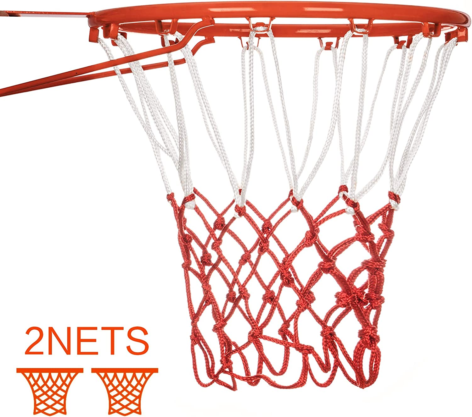 SUNCITY Fit Basketball Nets Replacement Heavy Duty Basketball Hoop Net Outdoor&Indoor 12 Loops Red White Three color