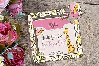 Giraffe Puzzle Flower Girl Invitation Will You Be My Flower Girl Wedding Invitation