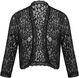 Women's Crochet Lace Shrug 3 4 Sleeve Bolero Open Front Cardigan (S-XXL)