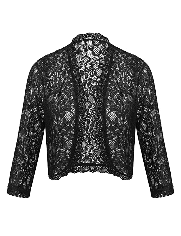 Dealwell Women's Floral Lace Cropped Shrug Bolero 3/4 Sleeve Open Front Cardigan
