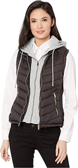 Puffer Vest with Removable Sweatshirt Hoodie
