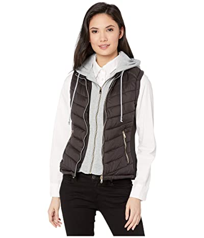 YMI Snobbish Puffer Vest with Removable Sweatshirt Hoodie (Black) Women
