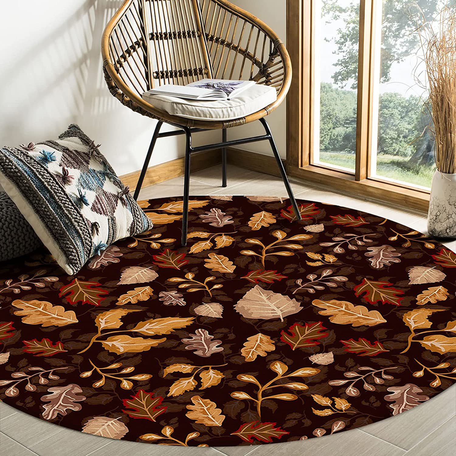 Olivefox Round Area Shipping included New arrival Rugs Thanksgiving Retro Style Maple Tex Leaf
