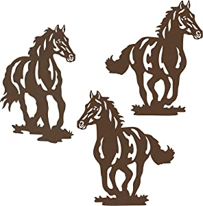 Waiu Metal Horse wall Art décor, 9.3inch set of 3 Rustic Concise Western Horse Decoration Hanging for living room bedroom bathroom indoor outdoor, Modern Gift Wall Décor, Brown
