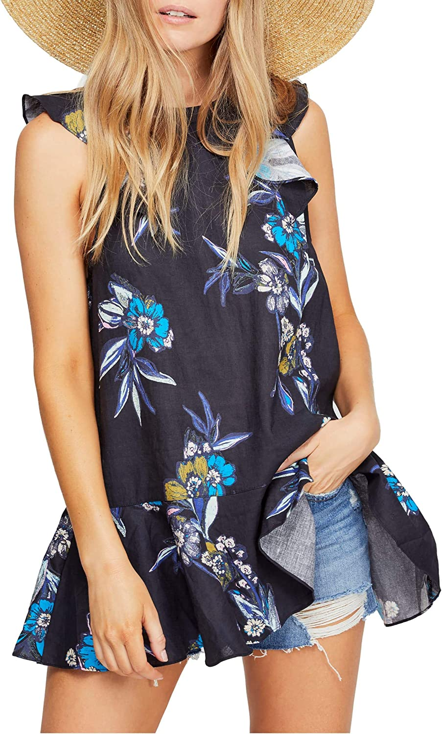 Free Shipping New People Superior Womens Summer in Floral Linen Top Tunic Tulum