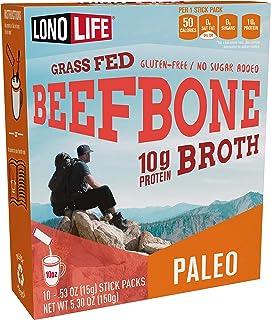 Beef Bone Broth Powder by LonoLife, Grass Fed, 10g Collagen Protein, Keto & Paleo Friendly, Low-Carb, Gluten Free, Portabl...
