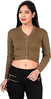 Malvina Women's Winter Warm Woollen Saree Blouse Long Sleeves Sweater (Green)