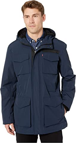 Long Four-Pocket Hooded Parka