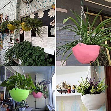uxcell Plastic Hanging Flower Pot Holder Indoor Outdoor Hanging Rope Home Garden Hanging Flower Plant Planter Pot Orange