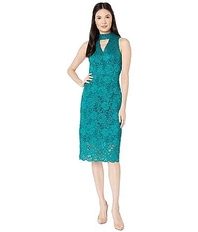 Sam Edelman Keyhole Lace Choker Dress (Teal) Women