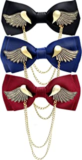 3 Pieces Men's Classic Pre-Tied Adjustable Golden Wings Bow Tie Solid Metal Wings Double Layer Neck Bowtie for Party Wedding Formal Supplies