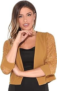 KRISP® Women Ladies Lace Back 3/4 Sleeve Cropped Party Shrug Top Bolero Cardigan Jacket