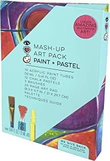 iHeartArt Mash-Up Art Supply Kit Paint & Pastel Complete Art Set with Brushes by Bright Stripes - Multimedia Acrylic Paint...