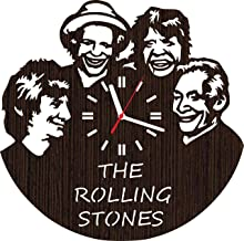 Wooden Wall Clock The Rolling Stones Gifts for Men Women him her mom dad Grandpa Home Decorations Art Collectibles Fans Stuff Merchandise Accessories Band Rock and roll Vinyl Music Poster Decor