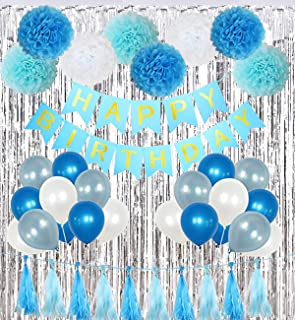 blue themed birthday decorations