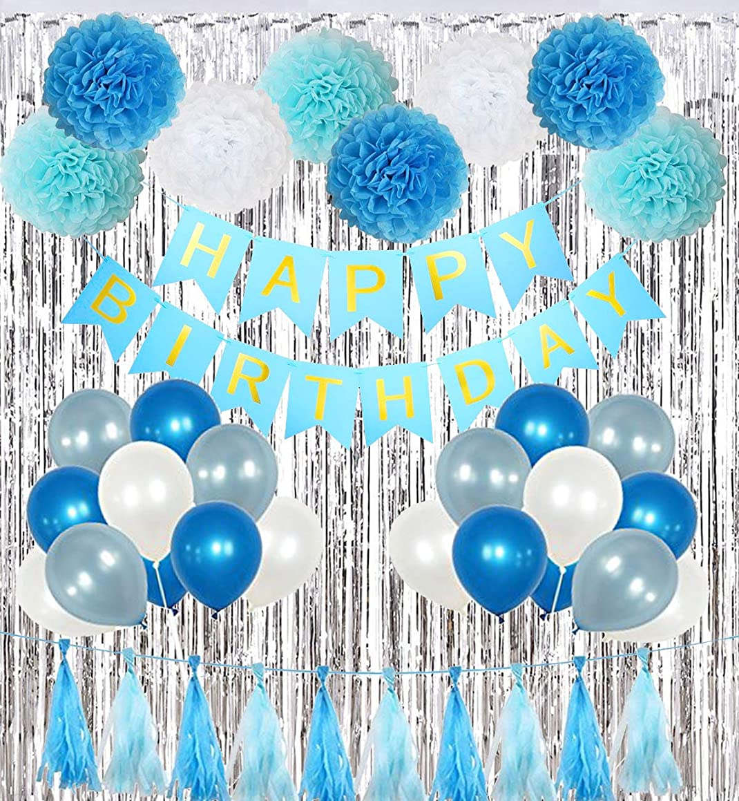 Birthday Party Decorations Kit?Boy Supplies with Banner, Balloons, Pom Poms Flowers, Foil Fringe Curtain, Paper Tassels in Blue