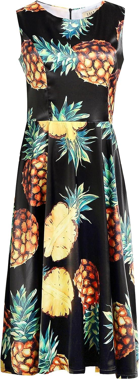 SSLR Women's Pineapple Crew Neck Flared Casual Hawaiian Dress