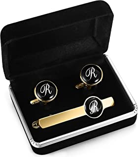 Engraved Tie Clip and Initial Cufflinks for Men Women Alphabet Letter A-W Cufflinks Tie Bar Set for Business Wedding Gold Tone