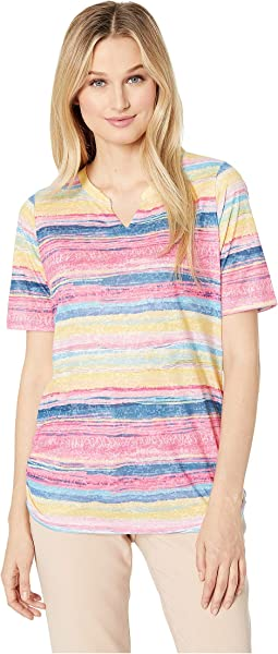 Sunrise Stripe Notched Crew Semi Short Sleeve Top