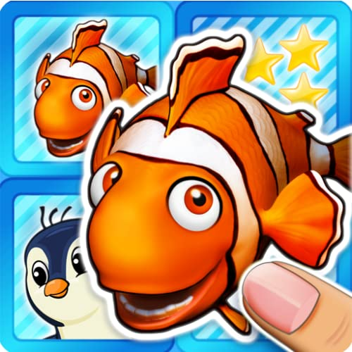 Memo pairs puzzle ocean animals & colorful fish for toddlers and preschoolers - train your kids memory