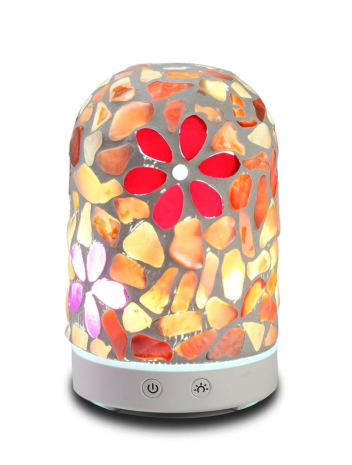息子かもめ九月AAアロマセラピーアロマエッセンシャルオイルディフューザー加湿器120?ml Dreamカラーガラス14-color LEDライトミュート自動ライトChangingアロマセラピーマシン加湿器 Diameter: 9cm; Height: 15cm;Capacity: 120 ml. AA-D-003