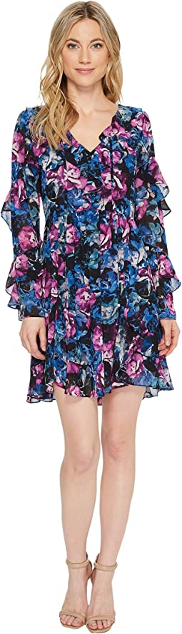 Laundry by Shelli Segal Floral Printed Dress with Ruffle Detail