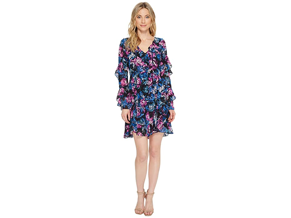 Laundry by Shelli Segal Floral Printed Dress with Ruffle Detail (Black) Women