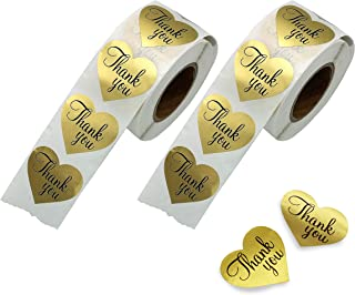 Thank You Stickers Gold Heart Shaped Foil Easy-Pull Adhesive Foil Labels (1000 Pack)