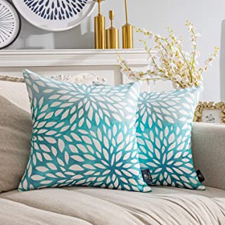Phantoscope Pack of 2 New Living Series Gradient Petals Print Decorative Throw Pillow Case Cushion Cover, Blue, 18 x 18 in...